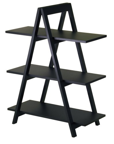 Winsome Wood 3-Tier A-Frame Shelf, Black
