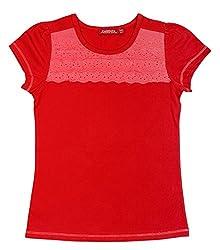 Campana Girls Lace Frill T-Shirt - Red