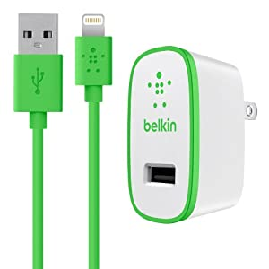 Belkin MIXIT Home Charger with Lightning Cable for iPhone 6S / 6S Plus, iPhone 6 / 6 Plus, iPhone 5 / 5S / 5c, iPad Pro, iPad 4th Gen, iPad Air 2, iPad Air, iPad mini 4, iPad mini 3, iPad mini 2 and iPad mini (2.1 Amp / 10 Watt), Green from Belkin