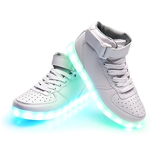 iTURBOS SuperNova+ Hover Light Up Shoes - Light Up LED Shoes for Women - 7 Static & 3 Dynamic Color Modes, 1 Strobe Mode - Trendy Rechargeable LED Sneakers (Charger Included) White 32