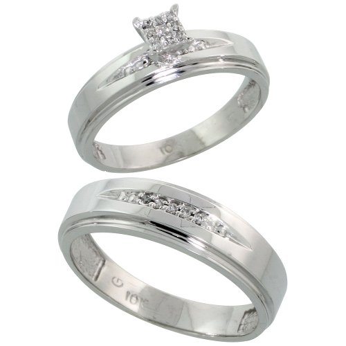 10k White Gold Diamond Engagement Rings Set for Men and Women 2-Piece 0.09 cttw Brilliant Cut, 5mm & 6mm wide, Size 5.5