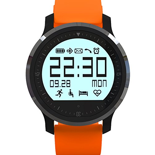 Lincass Heart Rate Monitor Watch-Best for Men Women-Running,Jogging,Walking,Gym Exercise,Cycling,Stop Watch,Multi Sports Bluetooth Wristwatch Compatible iphone IOS Android Samsung (Orange)