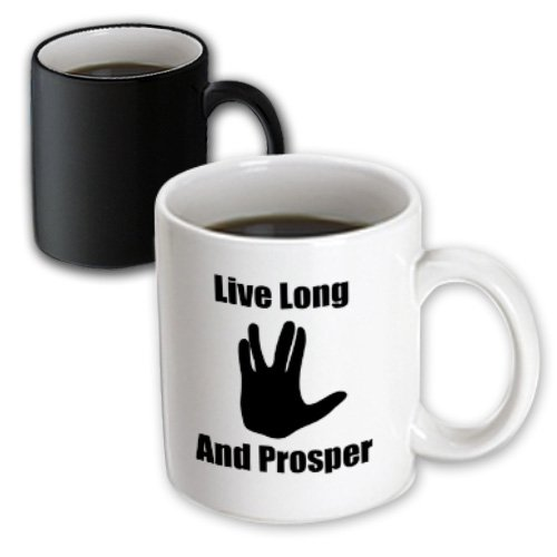 3dRose Live Long and Prosper Star Trek Starship Enterprise Spock Magic Transforming Mug, 11-Ounce