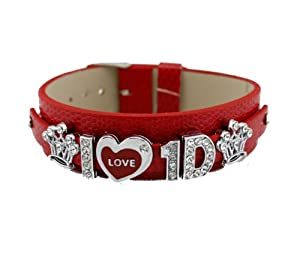 One Direction Crystal Slider Letter Wristband Bracelet - I Love 1d by Fun Daisy Jewelry
