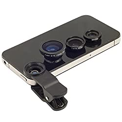 3-in-1 Clip-On Fisheye + Wide Angle + Macro Lens Set for mobile phones (BLACK)