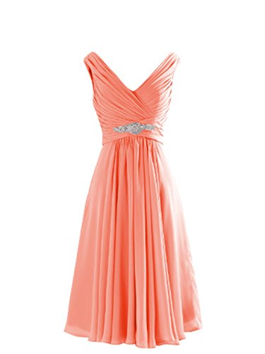 Yougao Women's V Neck A-Line Knee Length Chiffon Evening Party Dresses US 14 Peach (Peach Color Bridesmaid Dresses compare prices)