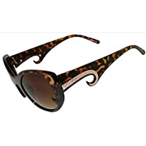 Cutie! Cat Eye Sunglasses with Daredevil Kiss Curls On Lenses & Arms W/ Metal Inserts