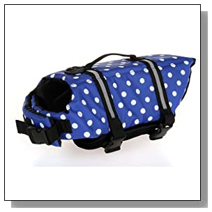 Lovely Baby Blue White Dot Cute Pets Life Jackets Dogs Safety Clothing YC-D-LJ4001-BT-XXL