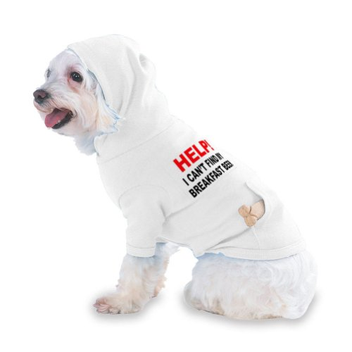 HELP! I CAN'T FIND MY BREAKFAST BEER Hooded (Hoody) T-Shirt with pocket for your Dog or Cat XS White