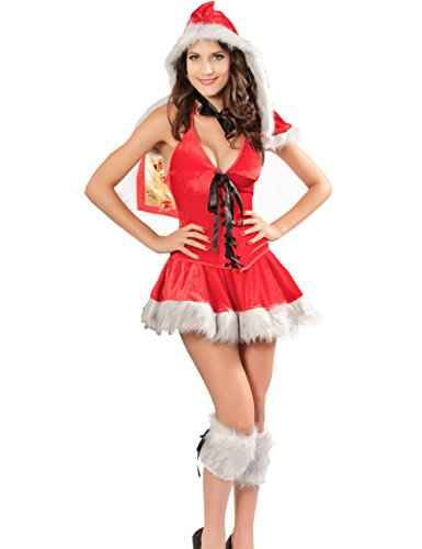 Born Ladies Sexy Fur Trim Miss Santa Christmas Fancy Dress Costume Outfit