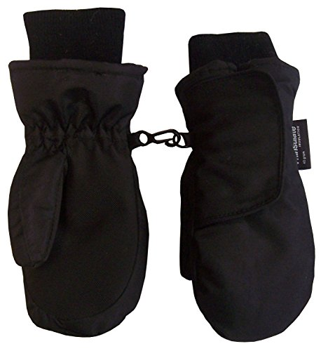 N'Ice Caps Kids Easy On Thinsulate Waterproof Velcro Wrap Mitten (2-3 Years, Black Solid)