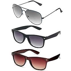 Rhodopsin UV Protected Blue Aviator,Black and Brown Wayfarer Sunglasses (3_Blue_Aviator_Black_Brown_Wayfarer)