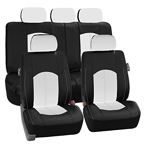 FH Group PU008WHITE115 Full Set Seat Cover (Perforated Leatherette Airbag Compatible and Split Bench Ready White) (2001 Tahoe Leather Seat Covers compare prices)