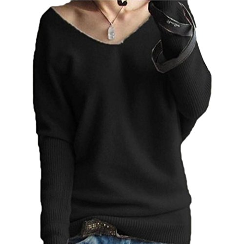 EKIMI Women Long Sleeve Loose Cashmere V Collar Pullovers Blouse Top (M, Black)