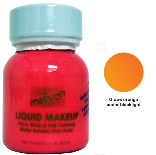 Mehron Liquid Face and Body Painting Makeup (1 ounce, Fluorescent (Black Light) Orange)