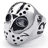 KONOV Jewelry Polished Stainless Steel Men's Ring, Halloween Jason Mask Band, Silver Black from Pin Zhen