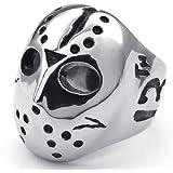 KONOV Jewelry Polished Stainless Steel Men's Ring, Halloween Jason Mask Band, Silver Black