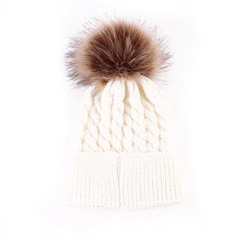 Oenbopo Baby Winter Warm Knit Hat Infant Toddler Kid Crochet Fur Hat Beanie Cap