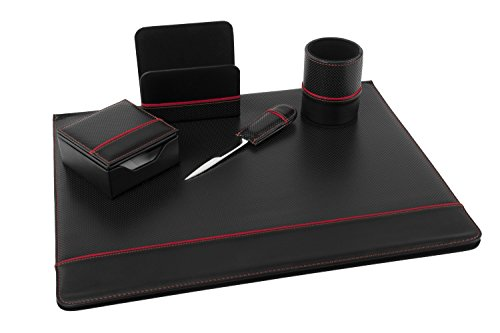 Set 5 pezzi regalo professionale per ufficio da scrivania similpelle nero K232