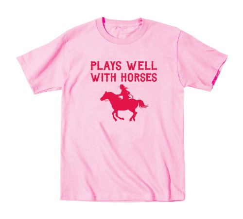 Plays Well With Horses Equestrian Horse Riding - Toddler T-Shirt - Light Pink - 4T