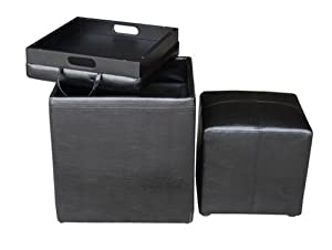 Global Distinctions Buy-One-Get-One-Free Ottoman Set, Black