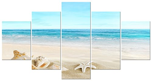 Pyradecor-Seashell-Landcape-5-panels-Seascape-Giclee-Canvas-Prints-on-Modern-Stretched-and-Framed-Canvas-Wall-Art-Sea-Beach-Pictures-Artwork-for-Home-Dcor
