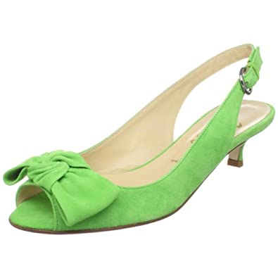 Butter Women's Salvatore Peep-Toe Kitten Heel,lime suede,5 M US