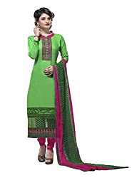 7 Colors Lifestyle Green Coloured Embroidered Cotton Jacquard Unstitched Dress Material