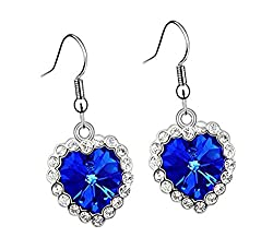 Sorella'z Classic Love Titanic Heart of Ocean Blue Drop Earrings
