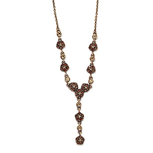 Copper-tone Lt. Colorado & Brown cristallo 15in w / Ext Y collana