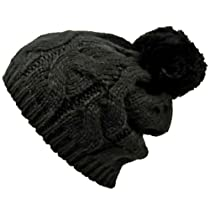 Black Twisted Cable Knit Winter Pom-Pom Beanie Hat