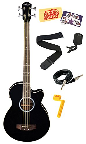 Oscar Schmidt Ob100 Acoustic-Electric Bass With Gig Bag Bundle With Instrument Cable, Strap, Tuner, Stringwinder, Picks, And Polishing Cloth - Black