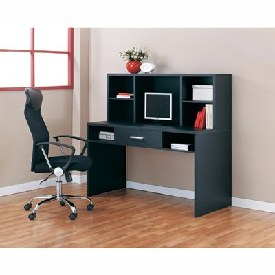 Solid Black Computer Desk Workstation