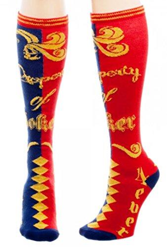 [DC's Suicide Squad Harley Quinn Property of Joker Knee High Socks] (Katana Dc Costume)