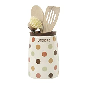 T&G Spot On Large Utensil Jar in Cream Ceramic with Natural Earth Coloured Spot Design and Acacia Wood Rim