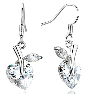 Pugster April White Clear Heart Swarovski Crystal Drop Fish Hook Earrings