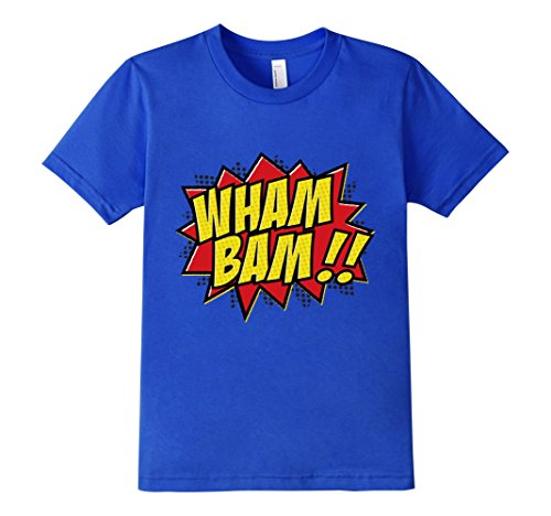 Kids-EmmaSaying-Wham-Bam-Pop-Art-Retro-Teen-Bazooka-Style-Shirt-Royal-Blue