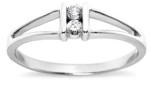 10k White Gold 2-Stone Split-Bale Diamond Ring (.08 cttw,  J-K Color, I2-I3 Clarity), Size 7
