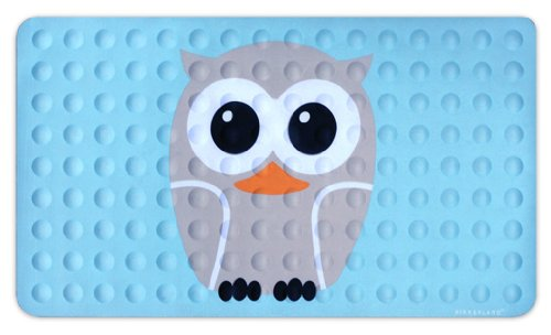 Kikkerland Bathmat, Owl, Natural Rubber High Grip Suction Cup, 27 by 15-inches