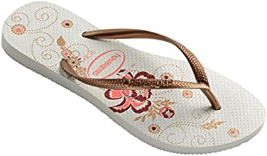 Womens Havaianas Slim Organic Slip On Rubber Floral Thongs Flip Flops - White - 9