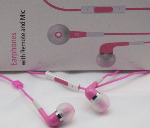 Pink Earphones With Remote And Mic For Iphone 5 , 4S, 4, 3Gs, Ipod Nano , Ipod Touch , Ipod Shuffle , Ipad With All Generations