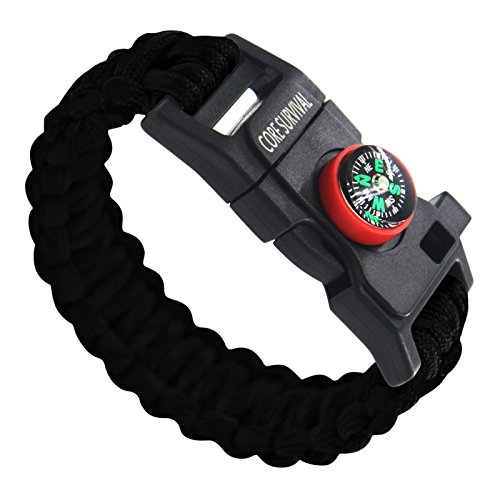 Best Paracord Bracelet for Camping Gear Survival Fire Starter (Black)