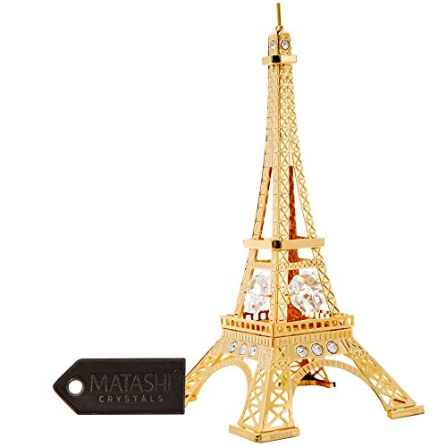 24K Gold Plated Crystal Studded Eiffel Tower Ornament by Matashi (Crystal Eiffel Tower compare prices)