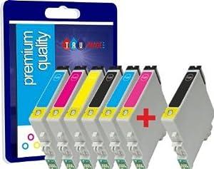 N.T.T.® - 7 x Haute Capacité Nouvelle Version Premium Qualité 100% Compatible cartouches d'encre pour Epson Stylus Photo P50 PX650 PX700W PX710W PX720WD PX800F PX810W PX820FWD R265 R285 R360 RX560 RX585 RX685 Compatibles avec TO801 TO802 TO803 TO804 TO805 TO806 TO807