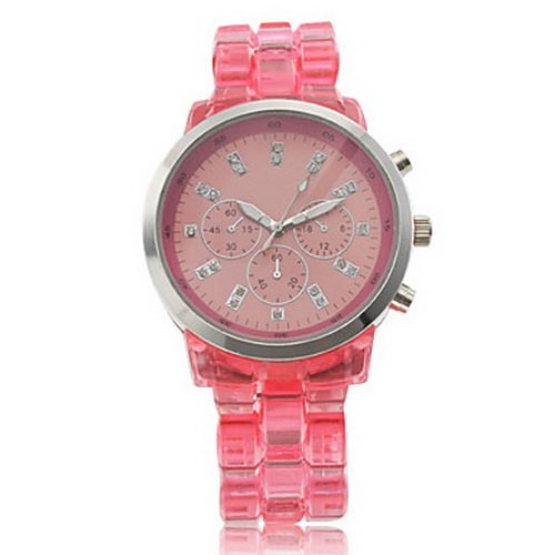 Fashionable Quartz Wrist Watch with Pink Plastic Band