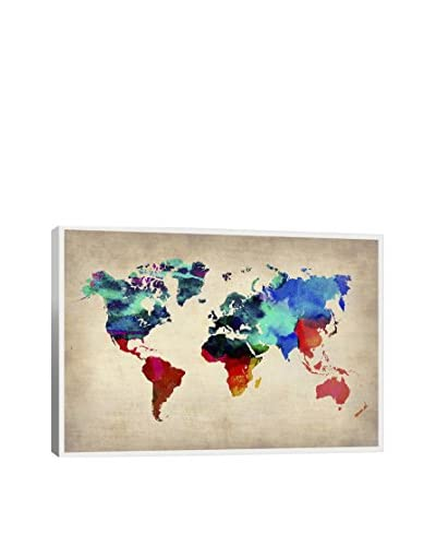 Naxart World Watercolor Map I Gallery Wrapped Canvas Print