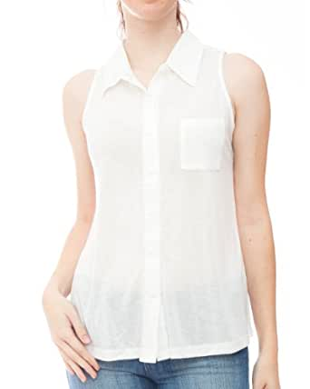 White Ladies Sleeveless Button-Down Hi-Low Hem Pocket Shirt