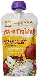 Happy Tot Morning Yogurt and Oats, Apple Cinnamon, 4 Ounce (Pack of 8)