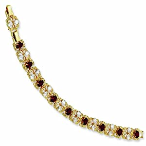 Gold-plated Swarovski Crystal Red 7.25In with 1In extension Garland Bracelet