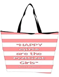 Snoogg Happy Girls Are The Prettiest Girls Waterproof Bag Made Of High Strength Nylon
